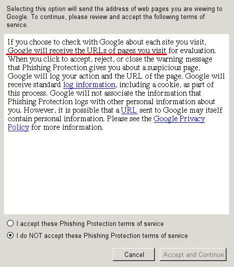 "Screenshot of the window with confirmation dialog, shown after choosing option ""Check by asking [Google] about each site I visit"", with words ""Google will receive the URLs of pages you visit"" underlined in red"